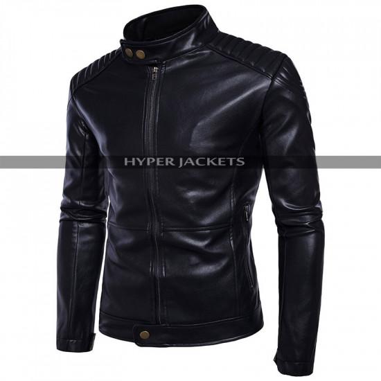 Mens Vintage Cafe Racer Motorcycle Bomber Black Leather Jacket