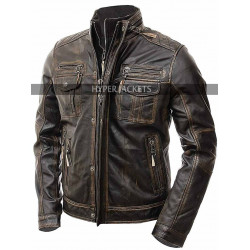 Vintage Cafe Racer Retro Biker Distressed Brown Leather Jacket