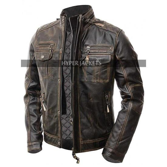 Vintage Cafe Racer Retro Biker Distressed Brown Leather Jacket