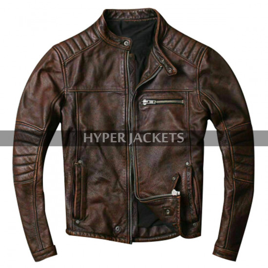 Cafe Racer Vintage Motorbike Distressed Brown Motorcycle Leather Jacket