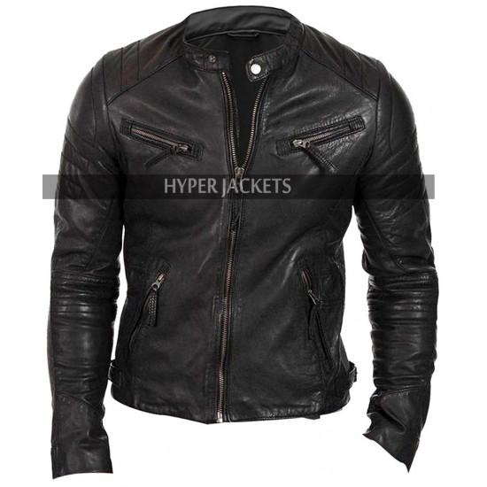 Men's Quilted-Shoulders Cafe Racer Black Biker Leather Jacket