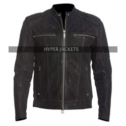 Men Cafe Racer Black Retro Biker Distressed Leather Jacket