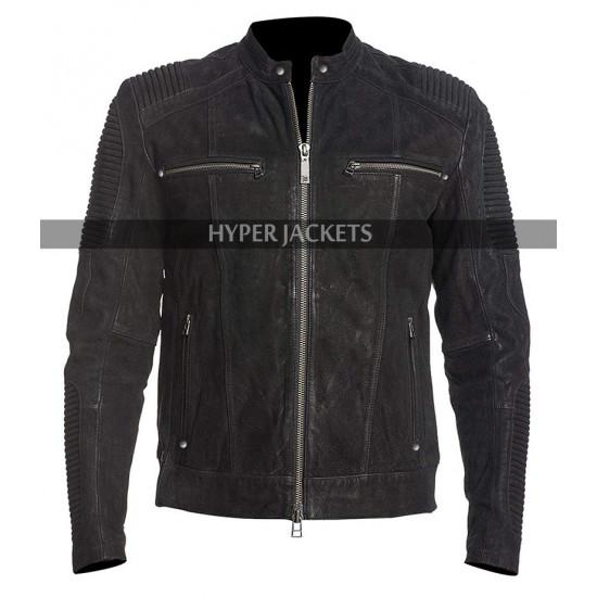 Men Cafe Racer Black Retro Biker Distressed Leather Jacket