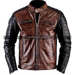 Cafe Racer Vintage Motorbike Distressed Black Brown Biker Leather Jacket