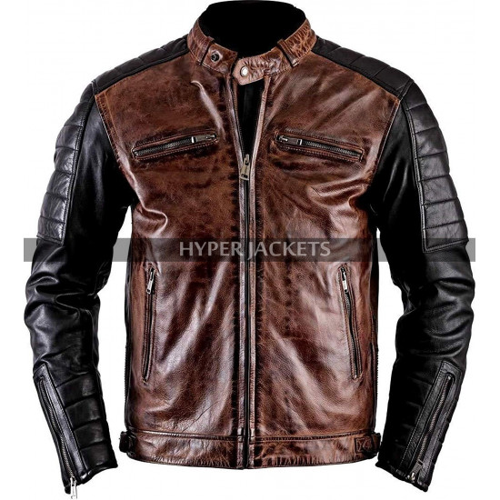 Cafe Racer Vintage Motorbike Distressed Black Brown Biker Leather Jacket