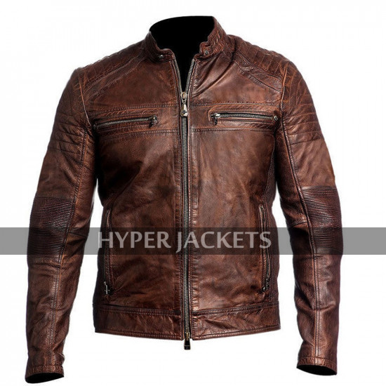 Cafe Racer Vintage Biker Distressed Brown Slimfit Motorcycle Leather Jacket