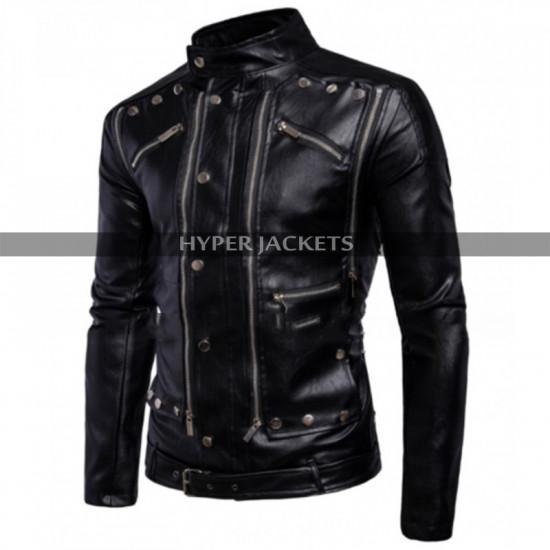 Antique Men Cafe Racer Motorbike Black Leather Jacket