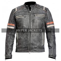 Mens Cafe Racer Retro 2 Biker Distressed Black Vintage Motorcycle Leather Jacket