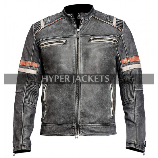 Mens Cafe Racer Retro 2 Biker Distressed Black Vintage Motorcycle Leather Jacket