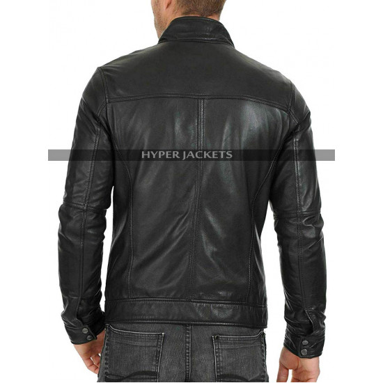 Men's Cafe Racer Vintage Black Biker Leather Jacket