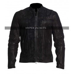 Men Cafe Racer Retro Biker Distressed Black Jacket