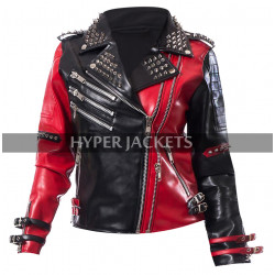 Harley Quinn Heartless Asylum Studded Red And Black Biker Leather Jacket