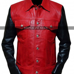Vintage Justin Bieber Red Black Leather Jacket