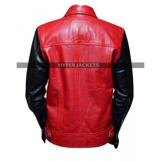 Vintage Justin Bieber Red Black Leather Jacket