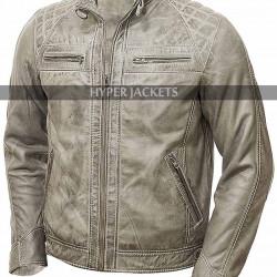 Men'S Cafe Racer Shoulder Wax Biker Lambskin Distressed White Jacket