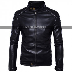 Mens Vintage Cafe Racer Motorcycle Bomber Black Leather Jacket
