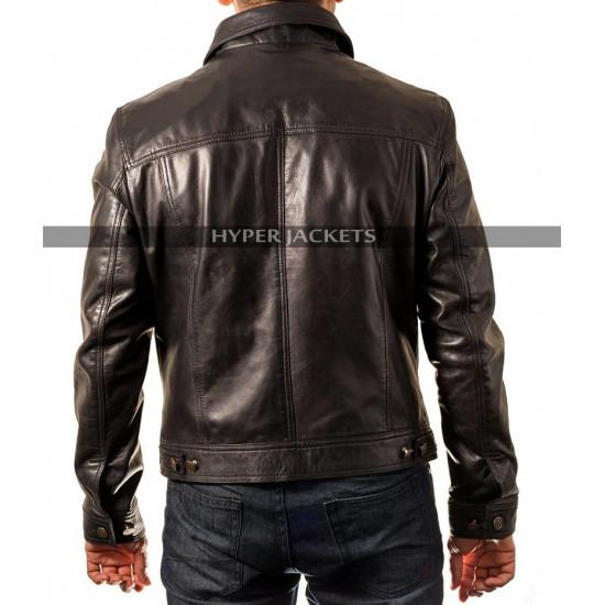 Cafe Racer Trucker Motorbike Black Leather Jacket