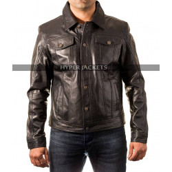 Cafe Racer Trucker Motorbike Black Leather Jacket