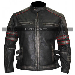 Mens Cafe Racer Retro Biker Distressed Black Leather Jacket