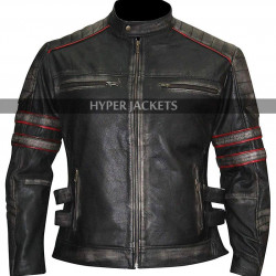 Mens Cafe Racer Retro Biker Distressed Black Leather Jacket