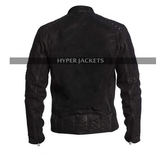 Men Cafe Racer Retro Biker Distressed Black Jacket