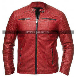 Cafe Racer Vintage Biker Retro Red Motorcycle Leather Jacket