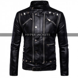 Antique Men Cafe Racer Motorbike Black Leather Jacket