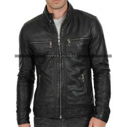 Men's Cafe Racer Vintage Black Biker Leather Jacket