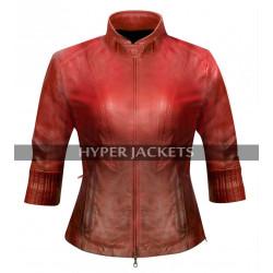 Scarlet Witch Avengers Age of Ultron Wanda Elizabeth Olsen Red Leather Jacket
