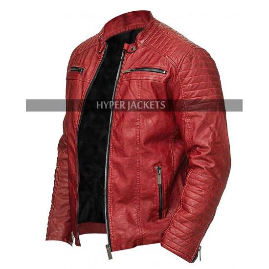Cafe Racer Vintage Biker Retro Red Motorcycle Leather Jacket
