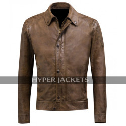 Chris Evans Avengers Age Of Ultron Captain America Brown Biker Leather Jacket