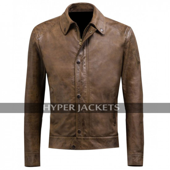 Chris Evans Avengers Age Of Ultron Captain America Brown Biker Leather Jacket