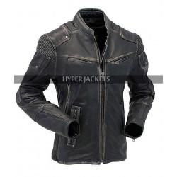 Mens Motorcycle Vintage Cafe Racer Biker Distressed Black Leather Jacket
