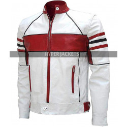 Mens Slim Fit Red And White Style  Biker Leather Jacket