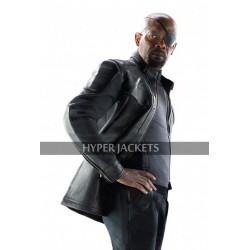 Nick Fury Avengers Age of Ultron Samuel L. Jackson Black Biker Leather Jacket