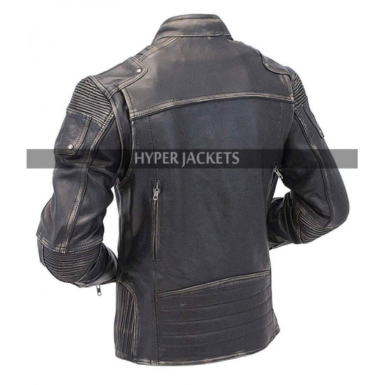 Mens Motorcycle Vintage Cafe Racer Biker Distressed Black Leather Jacket