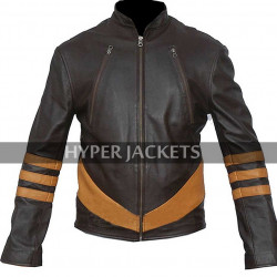 Wolverine X-Men Origins Hugh Jackman Costume Retro Biker Brown Leather Jacket