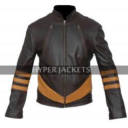 Wolverine X-Men Origins Hugh Jackman Costume Retro Biker Brown Leather Jacket