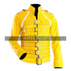 Freddie Mercury Queen Tribute Wembley Concert Yellow Biker Leather Jacket