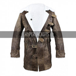 Bane Dark Knight Rises Distressed Brown Fur Shearling Leather Coat