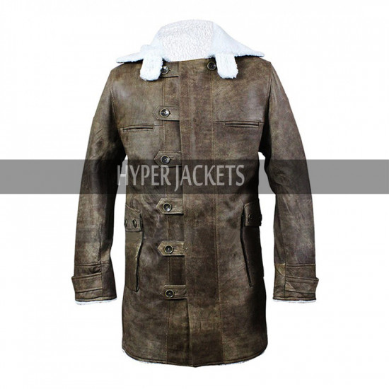 Bane Dark Knight Rises Distressed Brown Fur Shearling Leather Coat