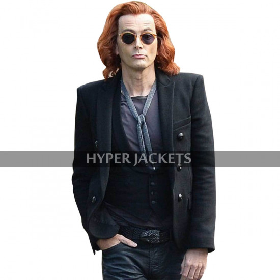 David Tennant Good Omens Crowley Black Wool Pea Coat Jacket
