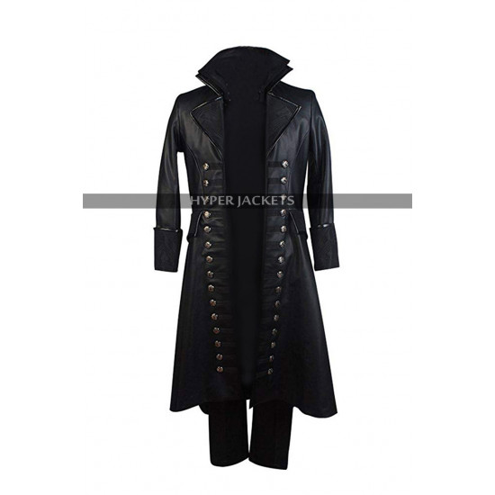 Captain Killian Jones Once Upon a Time Costume Leather Trench Coat