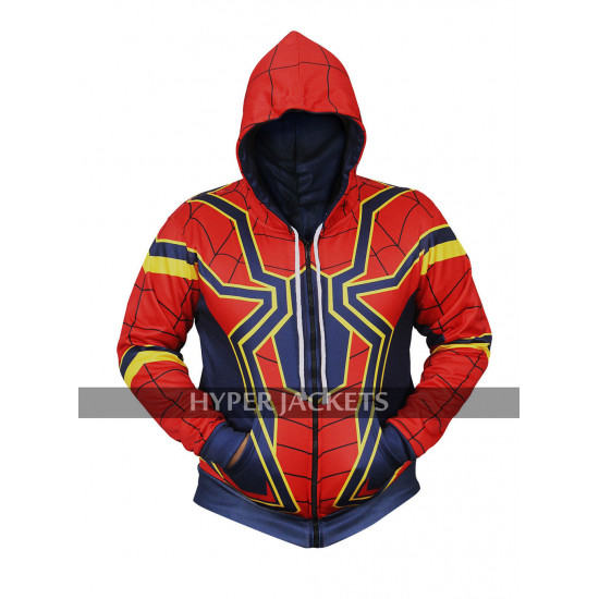 Tom Holland Avengers Infinity War Iron Spiderman Hoodie Costume Cotton Jacket
