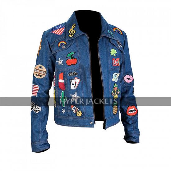 Elton John Rocketman Taron Egerton Denim Patches Jacket