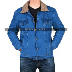 Love Simon Nick Robinson Blue Denim Fur Sherpa Jacket