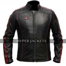 Mass Effect 3 N7 Commander Shepard Costume Biker Black Leather Jacket