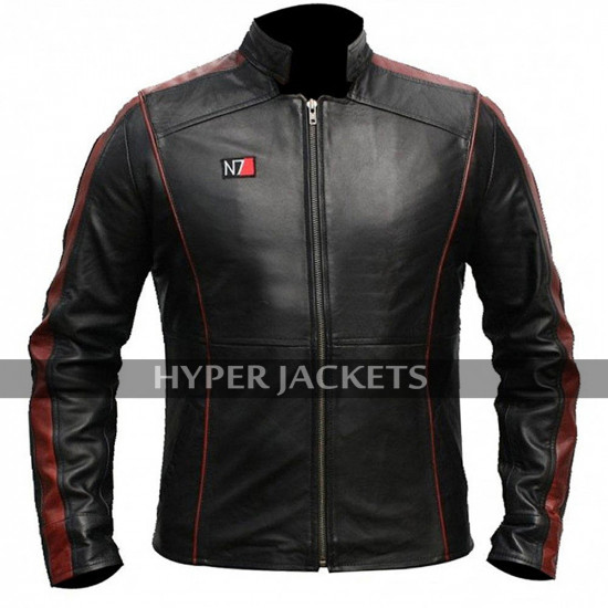 Mass Effect 3 N7 Commander Shepard Costume Biker Black Leather Jacket