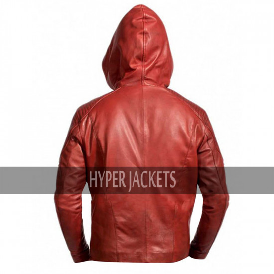 Arrow Season 3 Roy Harper Red Hooded Leather  Jacket