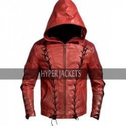 Arrow Season 3 Roy Harper Red Hooded Leather  Jacket